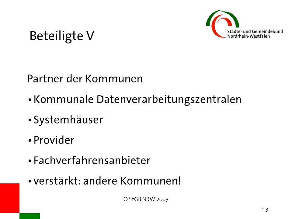 © StGB NRW 2003 13 Beteiligte V Partner der Kommunen Kommunale Datenverarbeitungszentralen Systemhäuser Provider Fachverfahrensanbieter verstärkt: andere Kommunen!