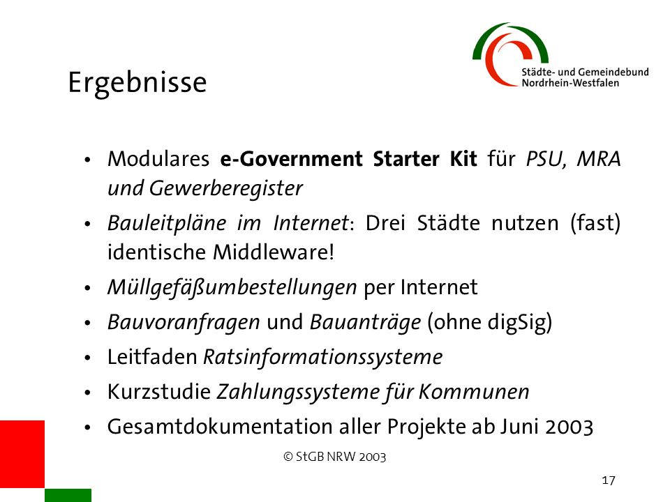 © StGB NRW 2003 17 Ergebnisse Modulares e-Government Starter Kit für PSU, MRA und Gewerberegister Bauleitpläne im Internet : Drei Städte nutzen (fast) identische Middleware.