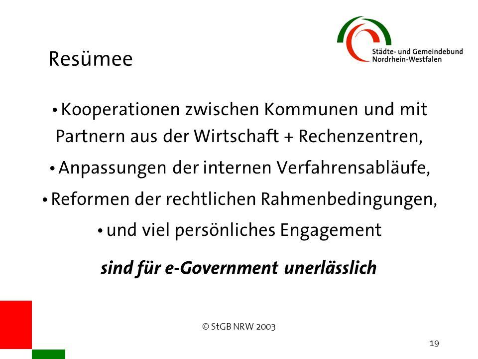 © StGB NRW 2003 19 Resümee Kooperationen zwischen Kommunen und mit Partnern aus der Wirtschaft + Rechenzentren, Anpassungen der internen Verfahrensabläufe, Reformen der rechtlichen Rahmenbedingungen, und viel persönliches Engagement sind für e-Government unerlässlich