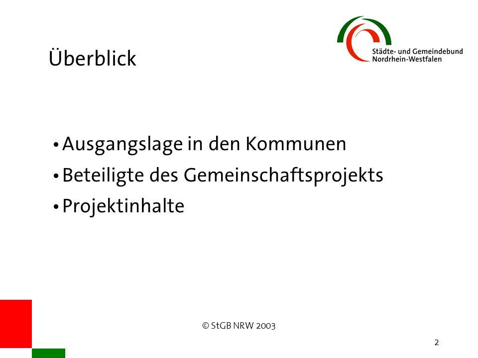 © StGB NRW 2003 2 Überblick Ausgangslage in den Kommunen Beteiligte des Gemeinschaftsprojekts Projektinhalte