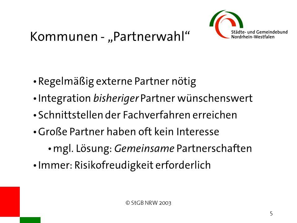 """© StGB NRW 2003 5 Kommunen - """"Partnerwahl Regelmäßig externe Partner nötig Integration bisheriger Partner wünschenswert Schnittstellen der Fachverfahren erreichen Große Partner haben oft kein Interesse mgl."""