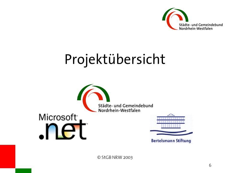 © StGB NRW 2003 6 Projektübersicht