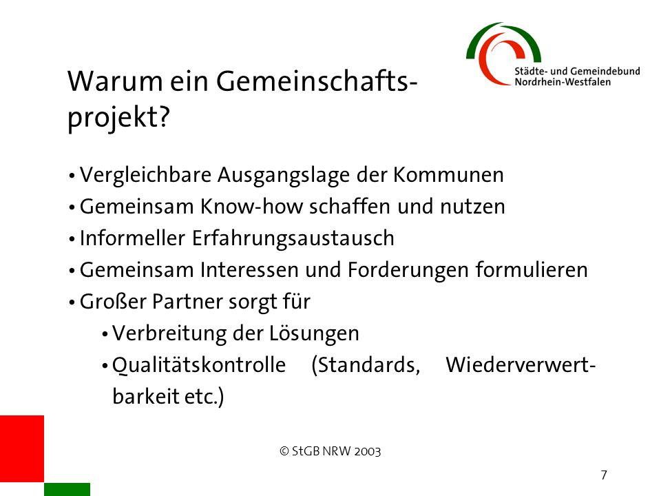 © StGB NRW 2003 7 Warum ein Gemeinschafts- projekt? Vergleichbare Ausgangslage der Kommunen Gemeinsam Know-how schaffen und nutzen Informeller Erfahru