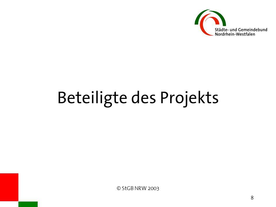 © StGB NRW 2003 8 Beteiligte des Projekts