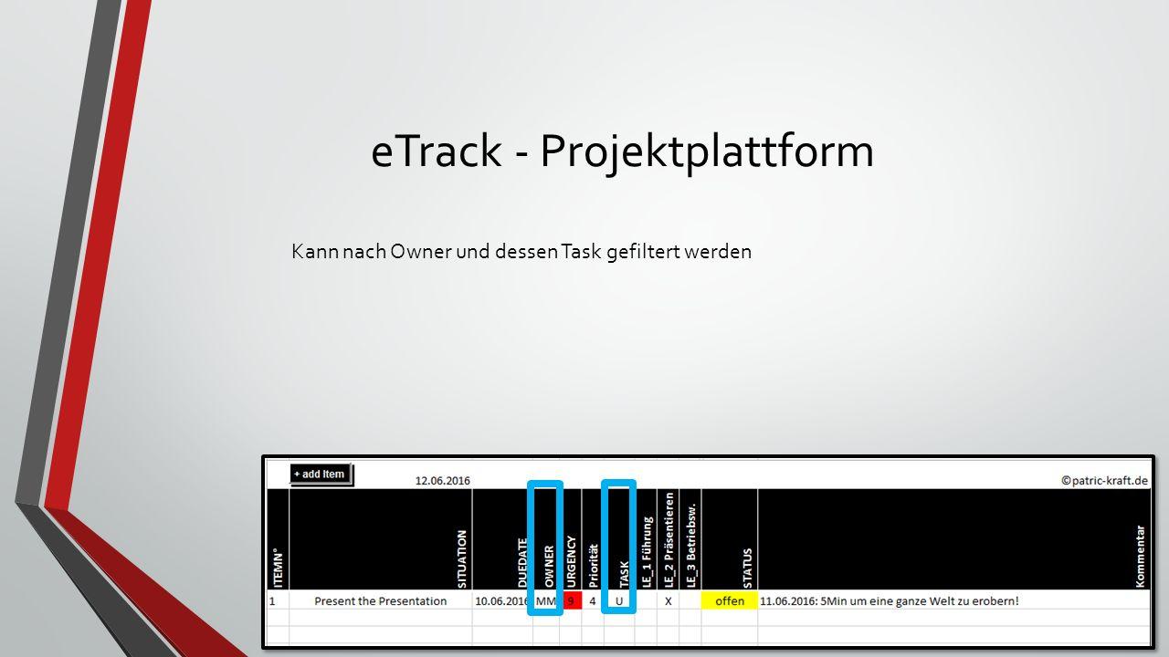eTrack - Dokumentation-Funktion Kann sowohl als Open-Issue Tracking als auch als auch für die Dokumentation genutzt werde.