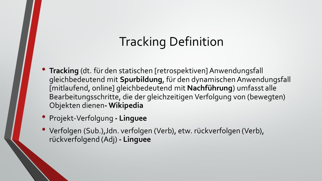Tracking Definition Tracking (dt.