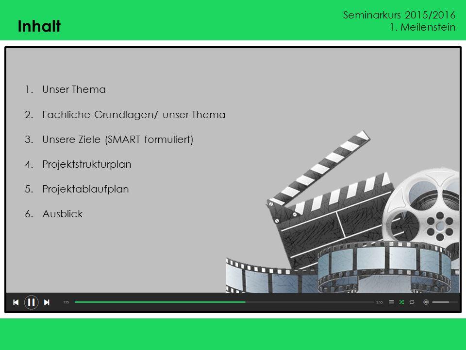 Seminarkurs 2015/2016 1.Meilenstein 1. Unser Thema Das Thema: Erstellen sie ein Projektvideo (z.B.