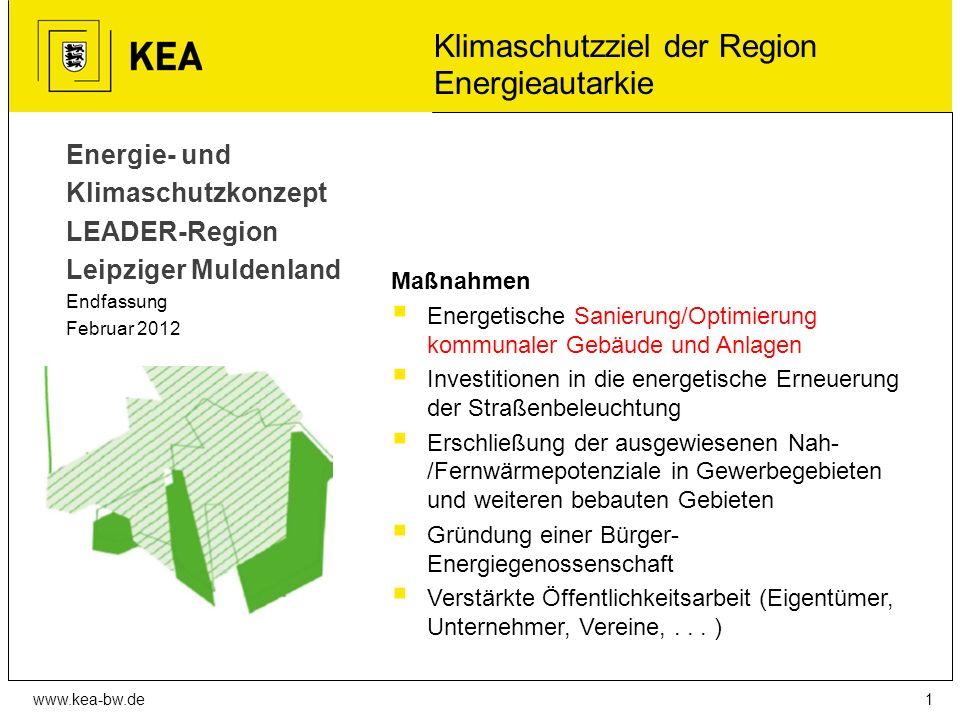 www.kea-bw.de Überzeugung ist erforderlich für…  Erschließung der ausgewiesenen Nah-/Fernwärmepotenziale in Gewerbegebieten und weiteren bebauten Gebieten  Hinwirken auf Nutzung des vorhandenen Photovoltaikpotenzials in der Region (Dach, Freifläche)  Gründung von Bürger-Energiegenossenschaften  Akzeptanz für weitere Standorte für Windenergieanlagen bei der Regionalplanung  Information und Bewusstseinsbildung in der Region hinsichtlich der Schwerpunktthemen erneuerbare Energien, Klimaschutz und Energieeffizienz  Gründung von Energieeffizienztischen von KMU´s  Energieberatung für Kleinbetriebe 12