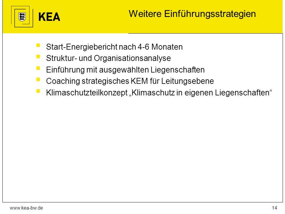 """www.kea-bw.de Weitere Einführungsstrategien  Start-Energiebericht nach 4-6 Monaten  Struktur- und Organisationsanalyse  Einführung mit ausgewählten Liegenschaften  Coaching strategisches KEM für Leitungsebene  Klimaschutzteilkonzept """"Klimaschutz in eigenen Liegenschaften 14"""