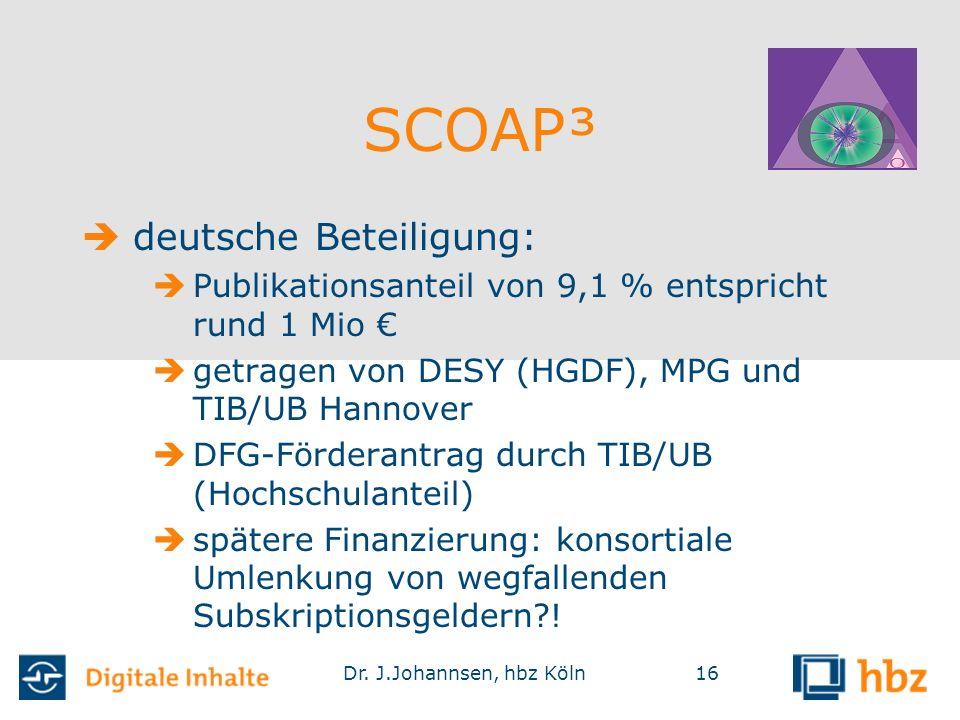 Dr. J.Johannsen, hbz Köln16 SCOAP³  deutsche Beteiligung:  Publikationsanteil von 9,1 % entspricht rund 1 Mio €  getragen von DESY (HGDF), MPG und