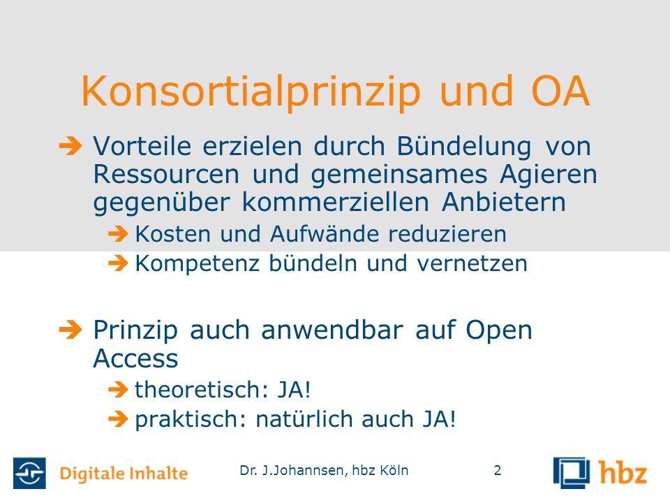 Dr. J.Johannsen, hbz Köln2 Konsortialprinzip und OA  Vorteile erzielen durch Bündelung von Ressourcen und gemeinsames Agieren gegenüber kommerziellen
