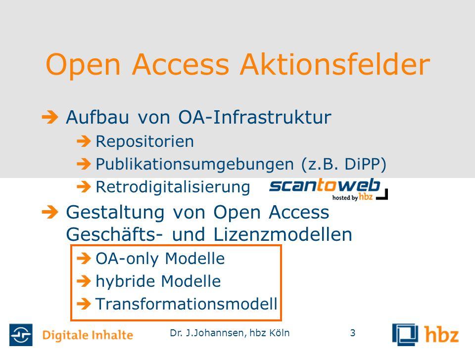 Dr. J.Johannsen, hbz Köln3 Open Access Aktionsfelder  Aufbau von OA-Infrastruktur  Repositorien  Publikationsumgebungen (z.B. DiPP)  Retrodigitali