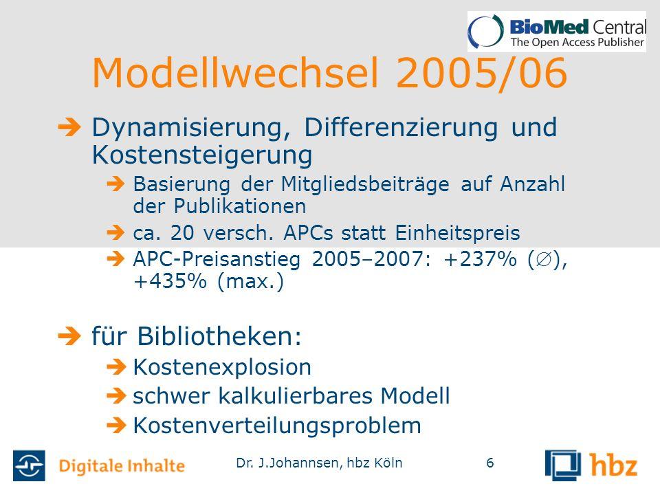 Dr. J.Johannsen, hbz Köln6  Dynamisierung, Differenzierung und Kostensteigerung  Basierung der Mitgliedsbeiträge auf Anzahl der Publikationen  ca.