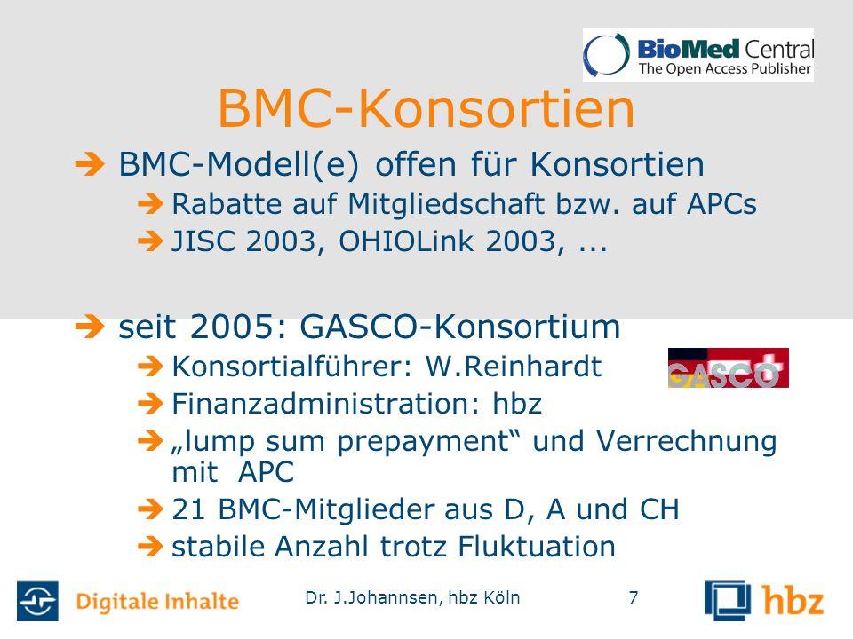 Dr. J.Johannsen, hbz Köln7 BMC-Konsortien  BMC-Modell(e) offen für Konsortien  Rabatte auf Mitgliedschaft bzw. auf APCs  JISC 2003, OHIOLink 2003,.