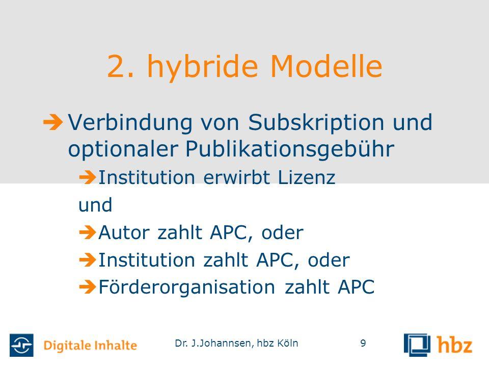 Dr. J.Johannsen, hbz Köln9 2. hybride Modelle  Verbindung von Subskription und optionaler Publikationsgebühr  Institution erwirbt Lizenz und  Autor