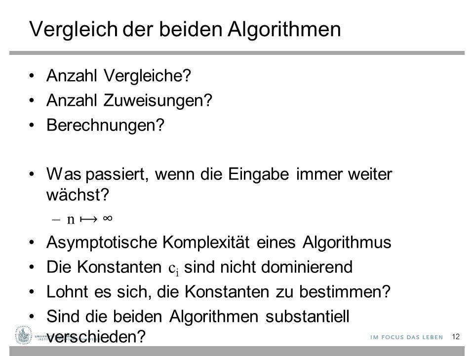 Vergleich der beiden Algorithmen Anzahl Vergleiche.