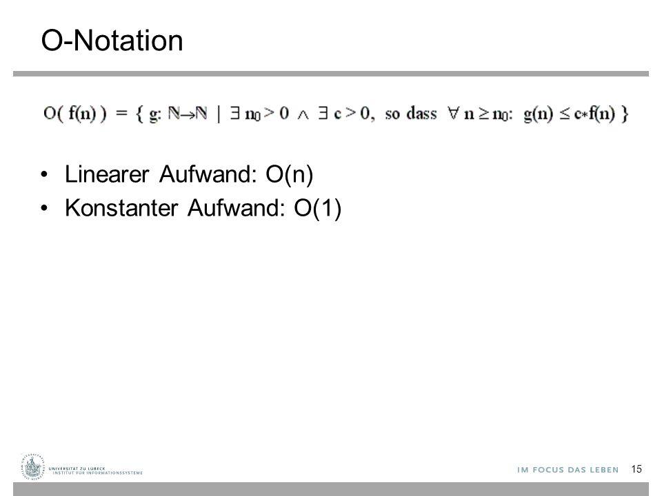 O-Notation Linearer Aufwand: O(n) Konstanter Aufwand: O(1) 15