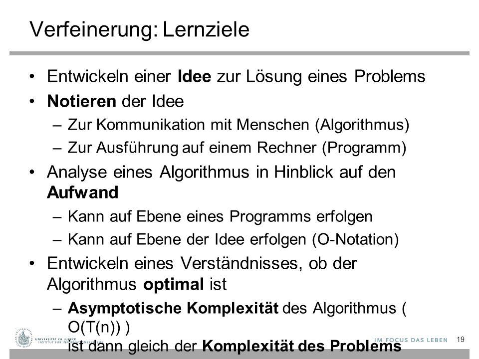 Verfeinerung: Lernziele Entwickeln einer Idee zur Lösung eines Problems Notieren der Idee –Zur Kommunikation mit Menschen (Algorithmus) –Zur Ausführung auf einem Rechner (Programm) Analyse eines Algorithmus in Hinblick auf den Aufwand –Kann auf Ebene eines Programms erfolgen –Kann auf Ebene der Idee erfolgen (O-Notation) Entwickeln eines Verständnisses, ob der Algorithmus optimal ist –Asymptotische Komplexität des Algorithmus ( O(T(n)) ) ist dann gleich der Komplexität des Problems 19