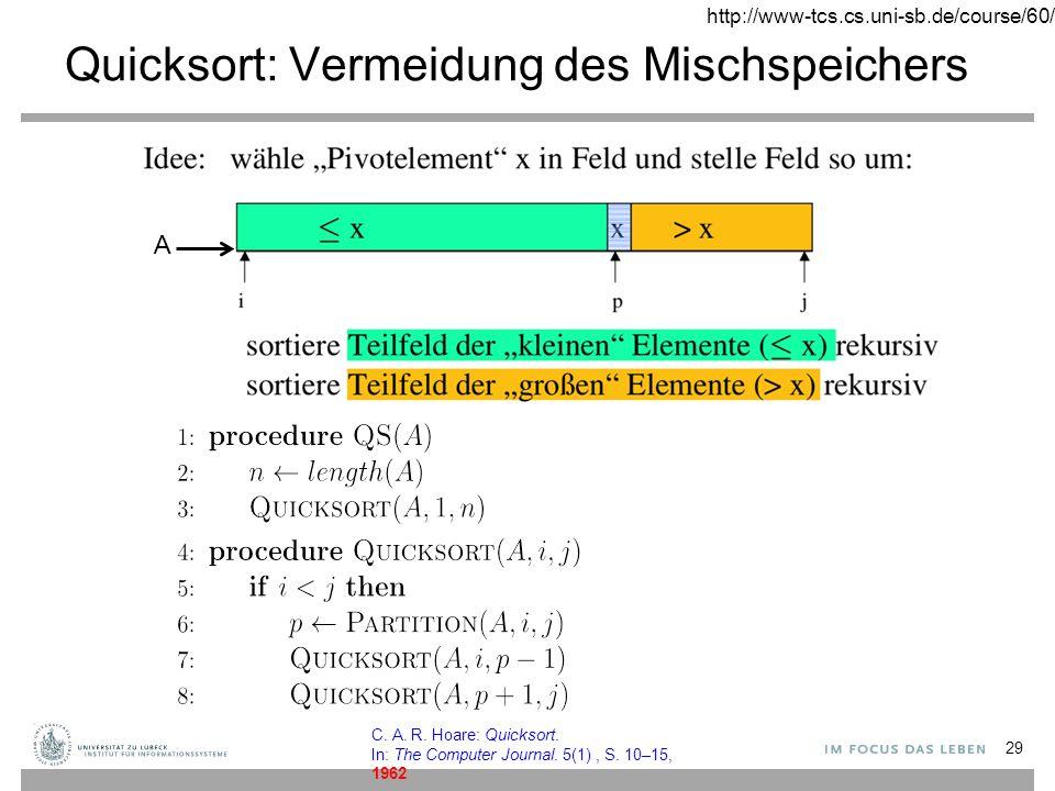 Quicksort: Vermeidung des Mischspeichers 29 A http://www-tcs.cs.uni-sb.de/course/60/ C.