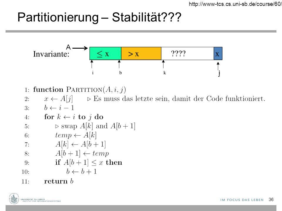 Partitionierung – Stabilität 36 J A http://www-tcs.cs.uni-sb.de/course/60/ j