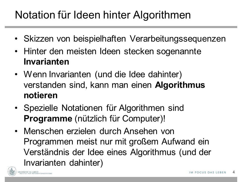 Notation für Ideen hinter Algorithmen Skizzen von beispielhaften Verarbeitungssequenzen Hinter den meisten Ideen stecken sogenannte Invarianten Wenn Invarianten (und die Idee dahinter) verstanden sind, kann man einen Algorithmus notieren Spezielle Notationen für Algorithmen sind Programme (nützlich für Computer).