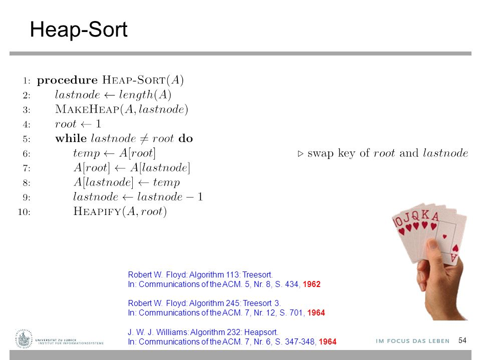 Heap-Sort 54 Robert W. Floyd: Algorithm 113: Treesort.