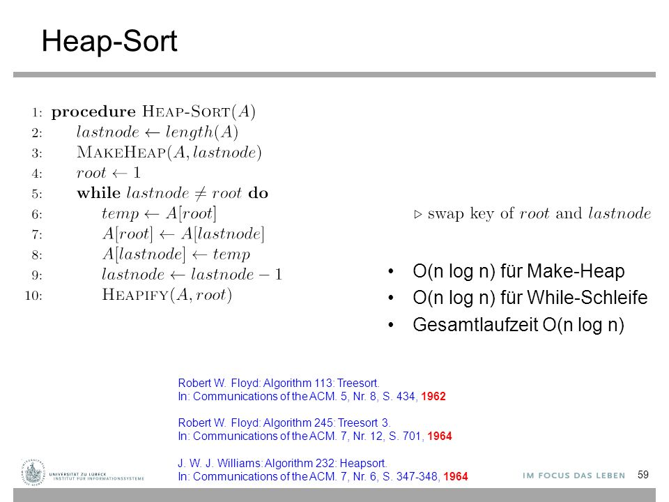 Heap-Sort 59 Robert W. Floyd: Algorithm 113: Treesort.