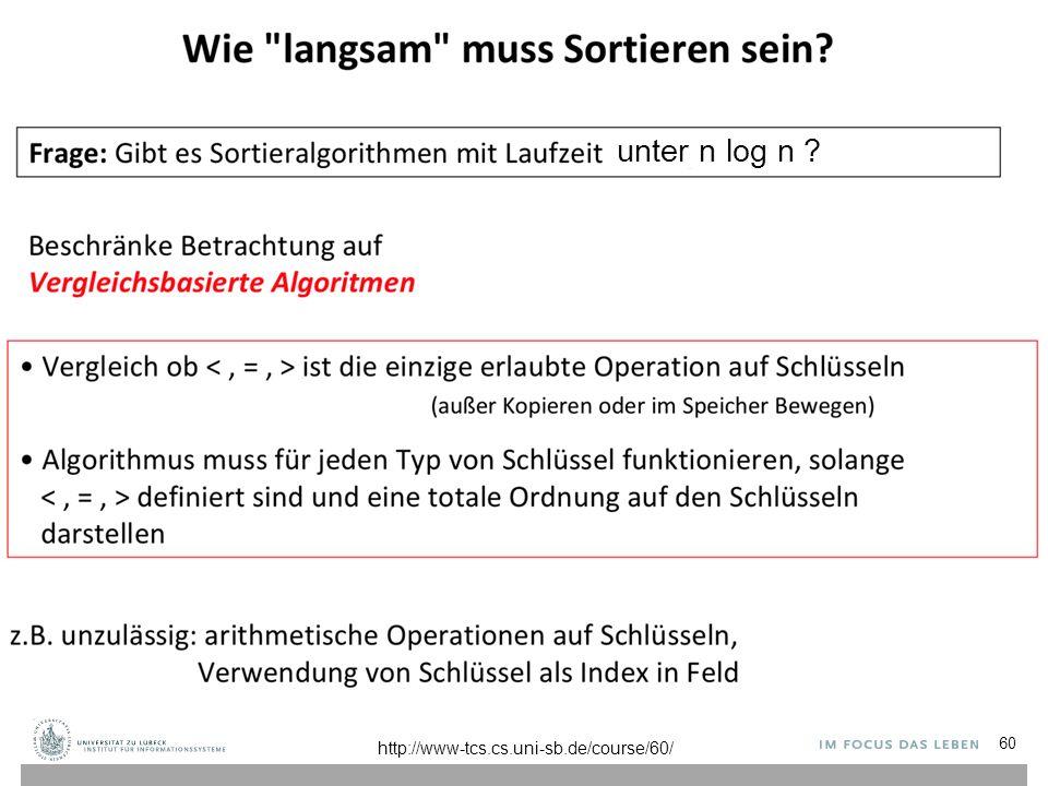 60 http://www-tcs.cs.uni-sb.de/course/60/ unter n log n