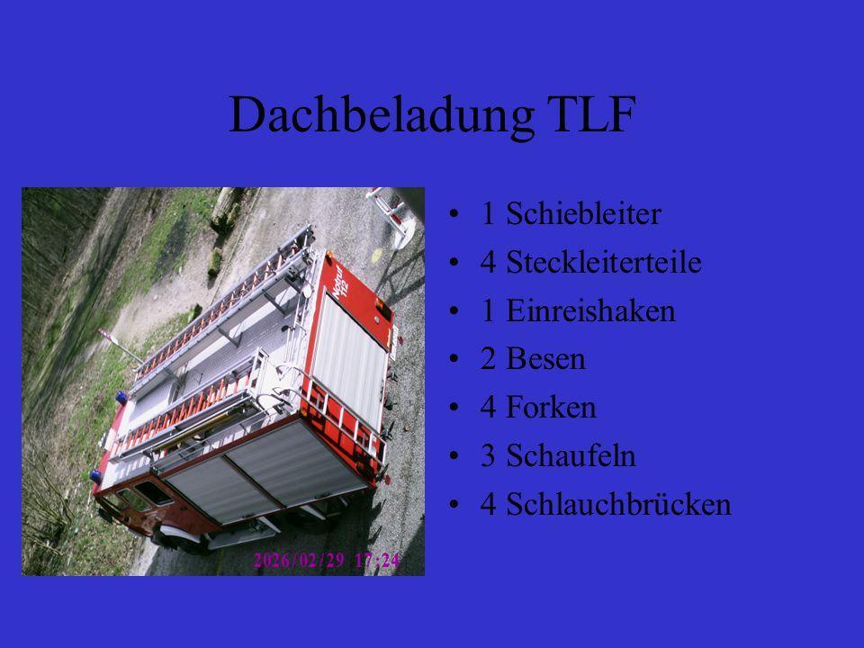 Dachbeladung TLF 1 Schiebleiter 4 Steckleiterteile 1 Einreishaken 2 Besen 4 Forken 3 Schaufeln 4 Schlauchbrücken