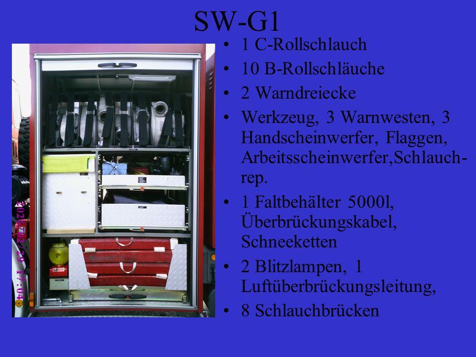 SW-G1 1 C-Rollschlauch 10 B-Rollschläuche 2 Warndreiecke Werkzeug, 3 Warnwesten, 3 Handscheinwerfer, Flaggen, Arbeitsscheinwerfer,Schlauch- rep. 1 Fal
