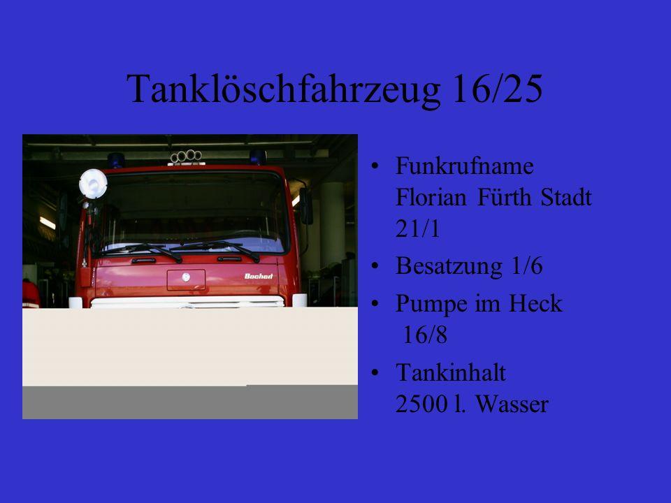 Tanklöschfahrzeug 16/25 Funkrufname Florian Fürth Stadt 21/1 Besatzung 1/6 Pumpe im Heck 16/8 Tankinhalt 2500 l. Wasser