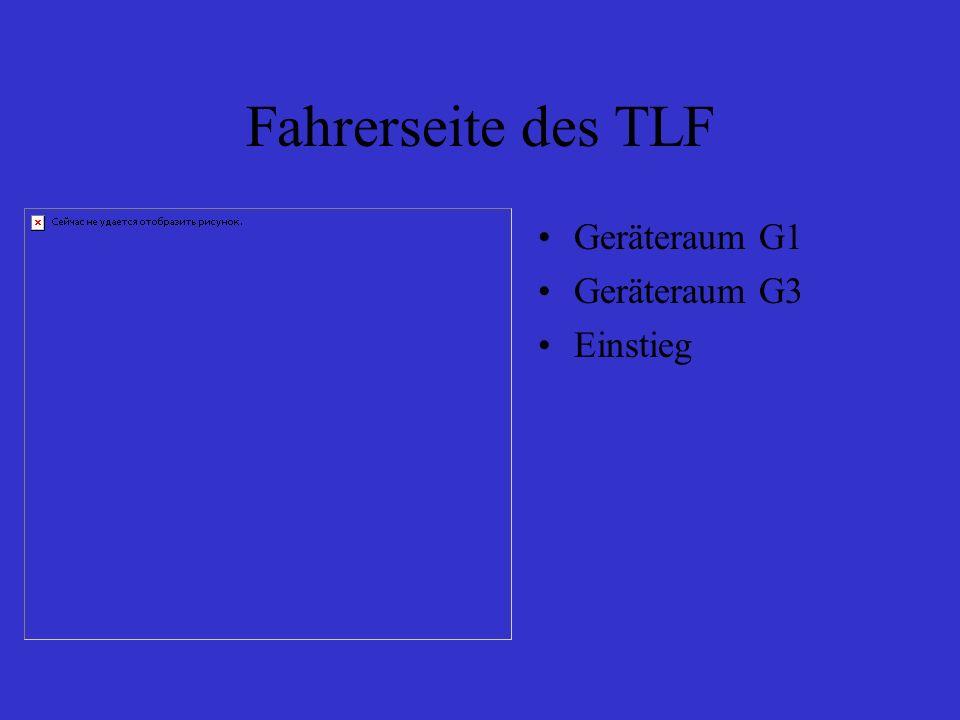 Fahrerseite des TLF Geräteraum G1 Geräteraum G3 Einstieg