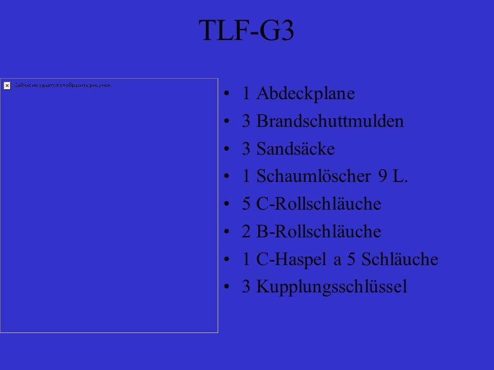 TLF-G3 1 Abdeckplane 3 Brandschuttmulden 3 Sandsäcke 1 Schaumlöscher 9 L. 5 C-Rollschläuche 2 B-Rollschläuche 1 C-Haspel a 5 Schläuche 3 Kupplungsschl