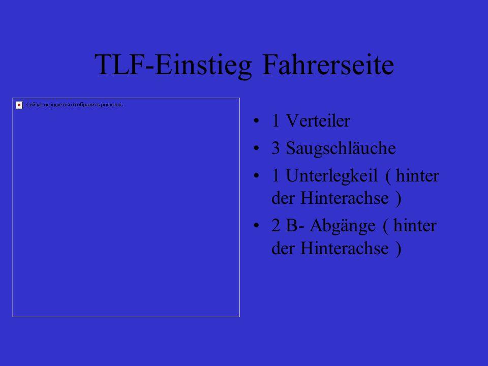 TLF-Einstieg Fahrerseite 1 Verteiler 3 Saugschläuche 1 Unterlegkeil ( hinter der Hinterachse ) 2 B- Abgänge ( hinter der Hinterachse )