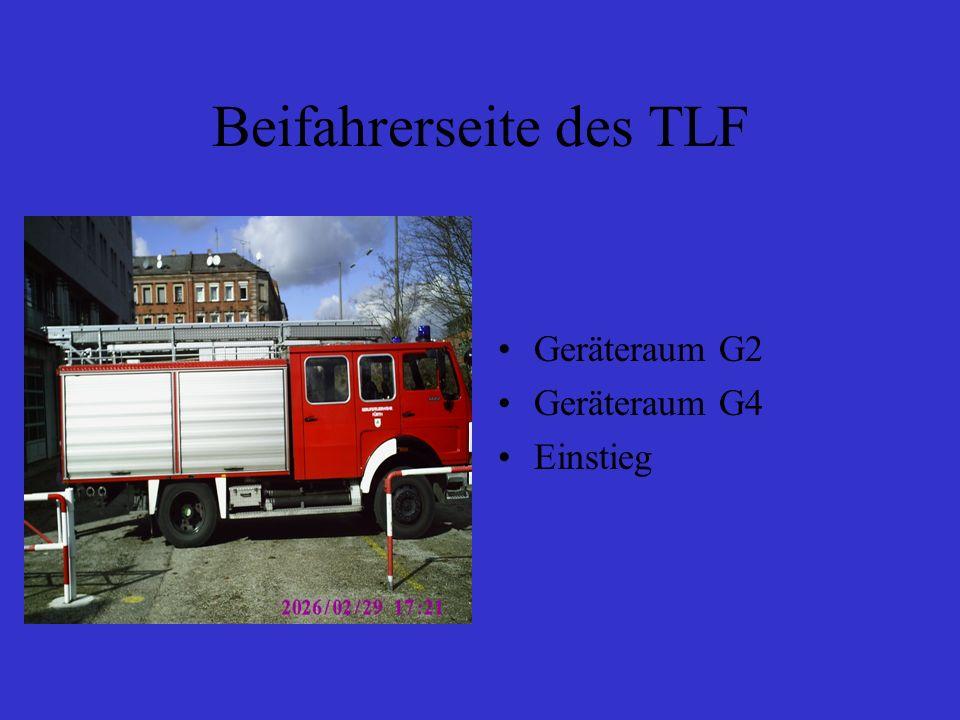 Beifahrerseite des TLF Geräteraum G2 Geräteraum G4 Einstieg
