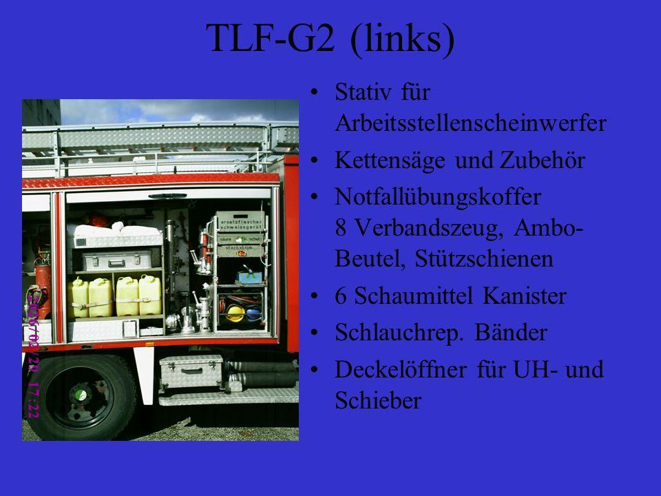TLF-G2 (Mitte) 2 Ansaugschläuche für Schaummittel 1 UH-Schlüssel 1 OH Schlüssel 1 Übergang für Schieber (Nuss) 1 Schwerschaumrohr Schachthaken 1 Zumischer Z4 1 BM-Strahlrohr 2 CM-Strahlrohre 1 DM-Strahlrohr 4 Übergänge B-C 1 Übergang C-D 1 Stützkrümmer B 1 Schnellschlussventil B 2 Schnellschlussventile C