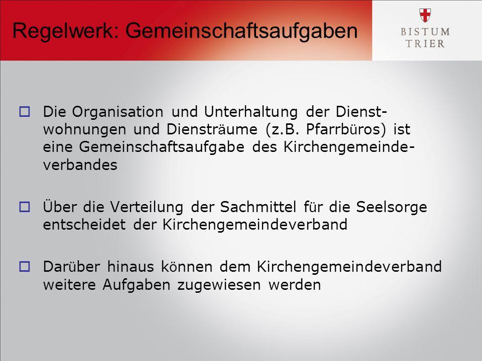 Regelwerk: Gemeinschaftsaufgaben  Die Organisation und Unterhaltung der Dienst- wohnungen und Dienstr ä ume (z.B.