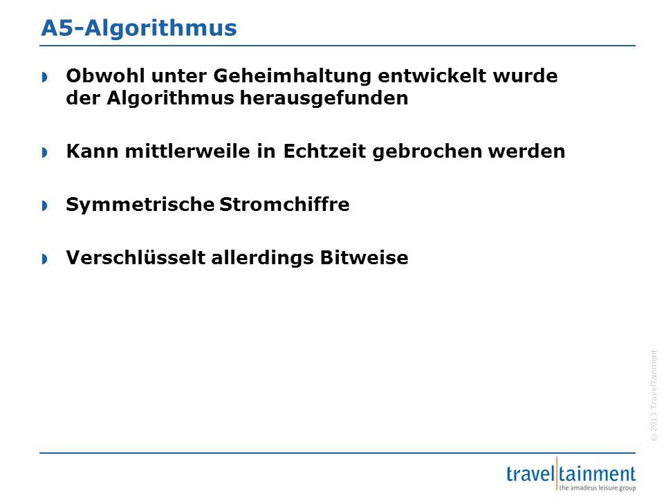 © 2013 TravelTainment A5-Algorithmus  Obwohl unter Geheimhaltung entwickelt wurde der Algorithmus herausgefunden  Kann mittlerweile in Echtzeit gebr