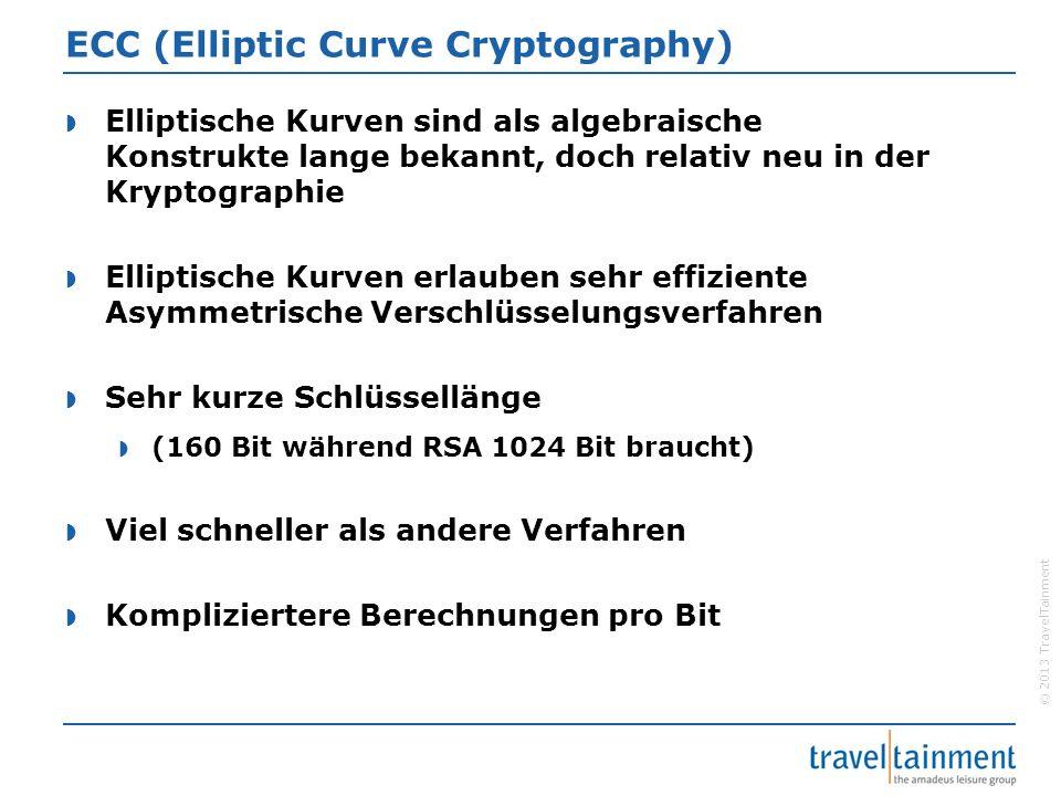 © 2013 TravelTainment ECC (Elliptic Curve Cryptography)  Elliptische Kurven sind als algebraische Konstrukte lange bekannt, doch relativ neu in der K