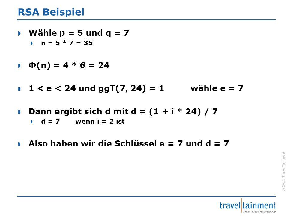 © 2013 TravelTainment RSA Beispiel  Wähle p = 5 und q = 7  n = 5 * 7 = 35  Φ(n) = 4 * 6 = 24  1 < e < 24 und ggT(7, 24) = 1wähle e = 7  Dann ergi