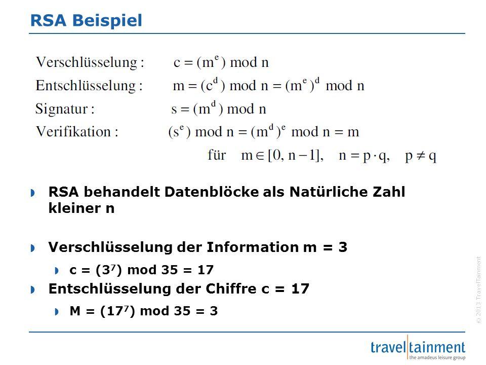© 2013 TravelTainment RSA Beispiel  RSA behandelt Datenblöcke als Natürliche Zahl kleiner n  Verschlüsselung der Information m = 3  c = (3 7 ) mod