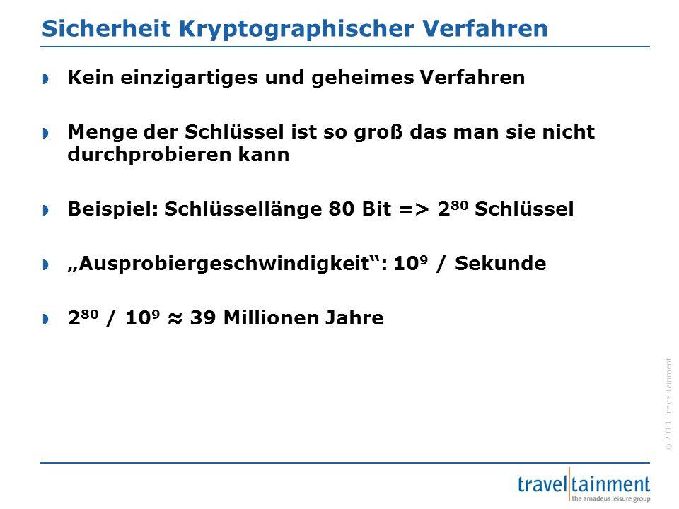 © 2013 TravelTainment Sicherheit Kryptographischer Verfahren  Kein einzigartiges und geheimes Verfahren  Menge der Schlüssel ist so groß das man sie