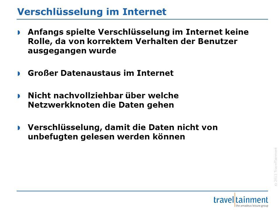 © 2013 TravelTainment Verschlüsselung im Internet  Anfangs spielte Verschlüsselung im Internet keine Rolle, da von korrektem Verhalten der Benutzer a