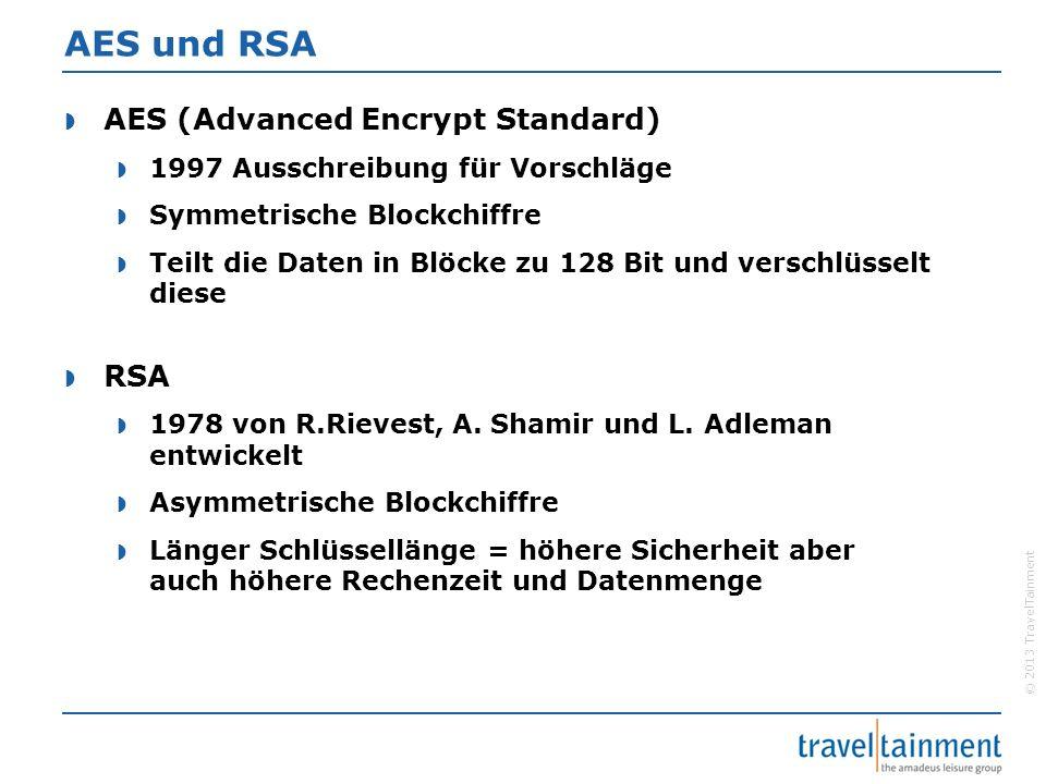 © 2013 TravelTainment AES und RSA  AES (Advanced Encrypt Standard)  1997 Ausschreibung für Vorschläge  Symmetrische Blockchiffre  Teilt die Daten
