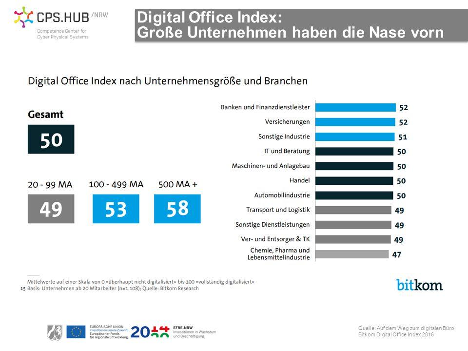 Digital Office Index: Große Unternehmen haben die Nase vorn Quelle: Auf dem Weg zum digitalen Büro: Bitkom Digital Office Index 2016