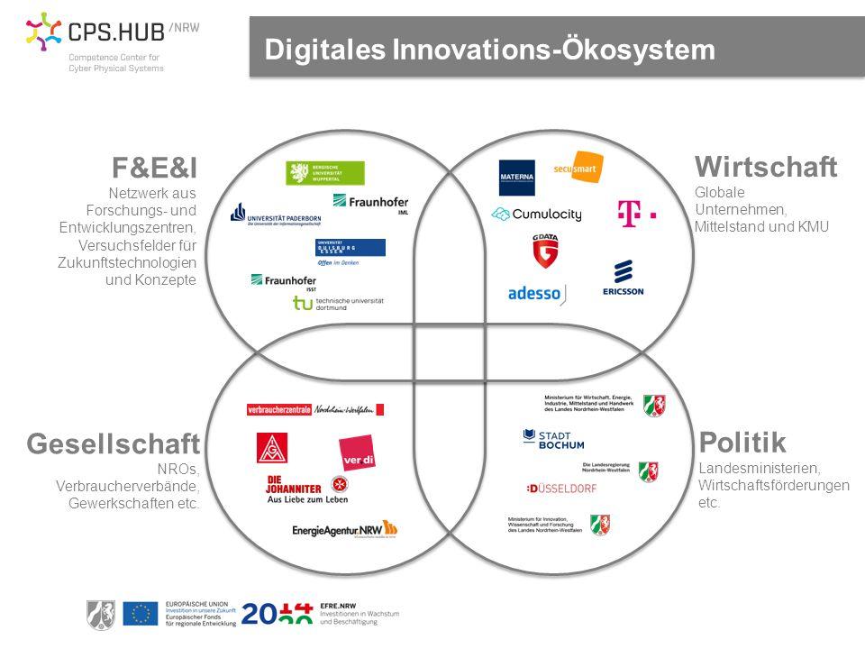 Digitales Innovations-Ökosystem F&E&I Netzwerk aus Forschungs- und Entwicklungszentren, Versuchsfelder für Zukunftstechnologien und Konzepte Wirtschaft Globale Unternehmen, Mittelstand und KMU Politik Landesministerien, Wirtschaftsförderungen etc.