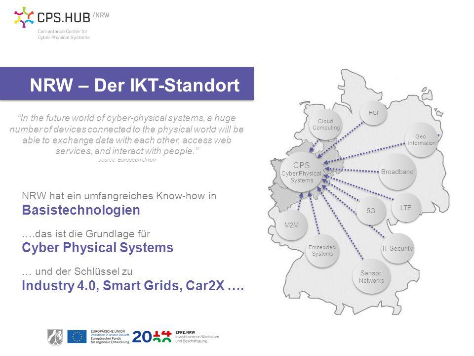 NRW hat ein umfangreiches Know-how in Basistechnologien ….das ist die Grundlage für Cyber Physical Systems … und der Schlüssel zu Industry 4.0, Smart Grids, Car2X ….