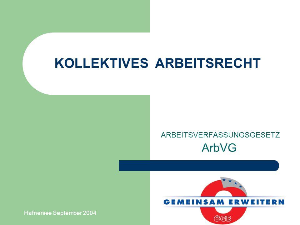 Hafnersee September 2004 KOLLEKTIVES ARBEITSRECHT ARBEITSVERFASSUNGSGESETZ ArbVG