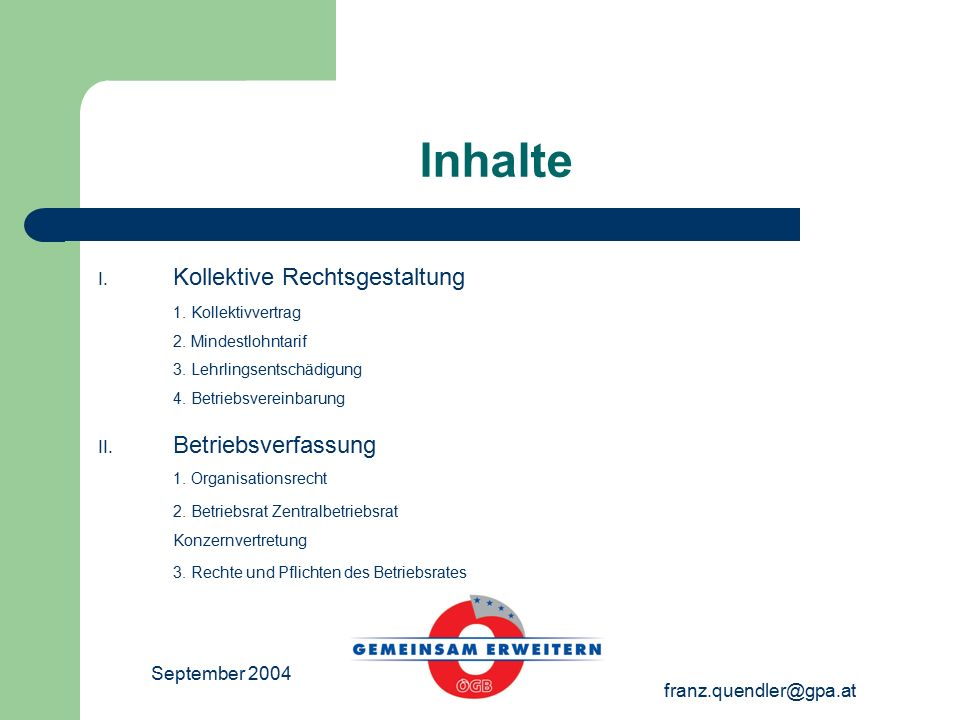 September 2004 franz.quendler@gpa.at Inhalte I. Kollektive Rechtsgestaltung 1.