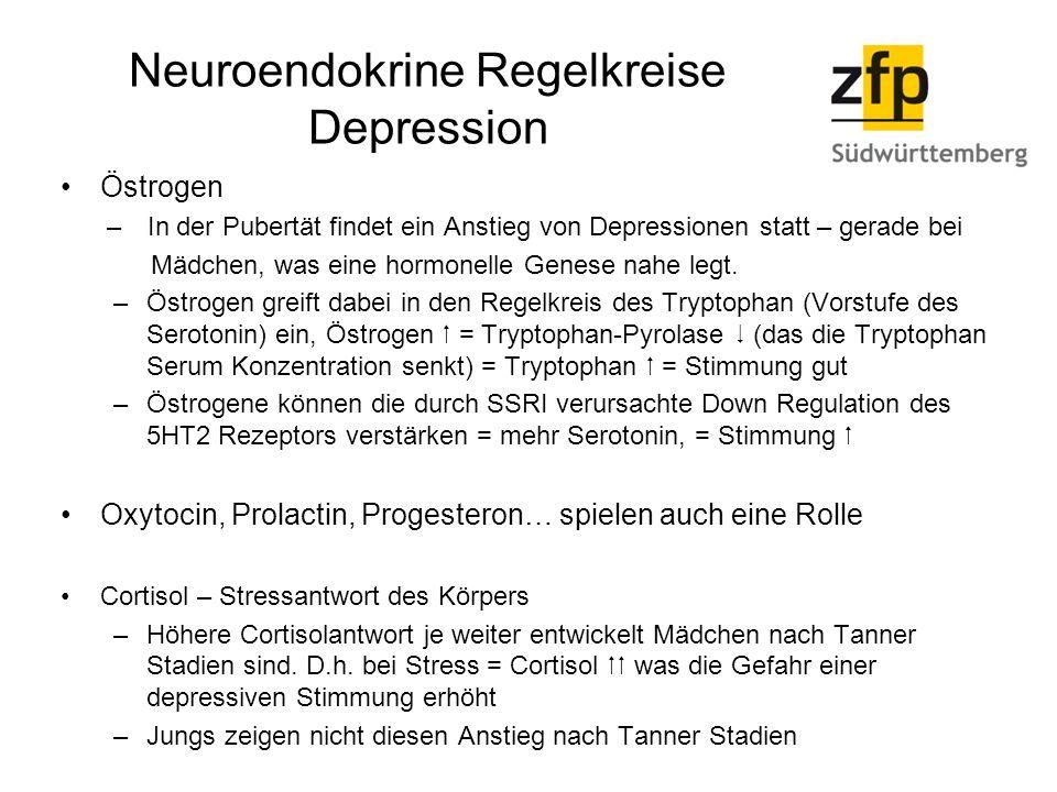 Neuroendokrine Regelkreise Depression Östrogen – In der Pubertät findet ein Anstieg von Depressionen statt – gerade bei Mädchen, was eine hormonelle Genese nahe legt.